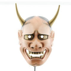 Hannya Noh Mask, Demon, Japanese Theatre, 20th Century, Woodcraft, Handmade