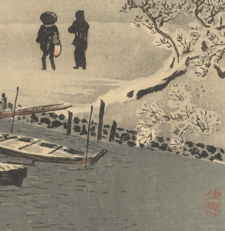 Shotei Takahashi, Snow, Landscape, Shin-Hanga, Original Japanese Woodblock Print For Sale 1