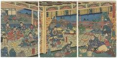 Yoshikazu Utagawa, Original Japanese Woodblock Print, Demons of Oeyama, Samurai
