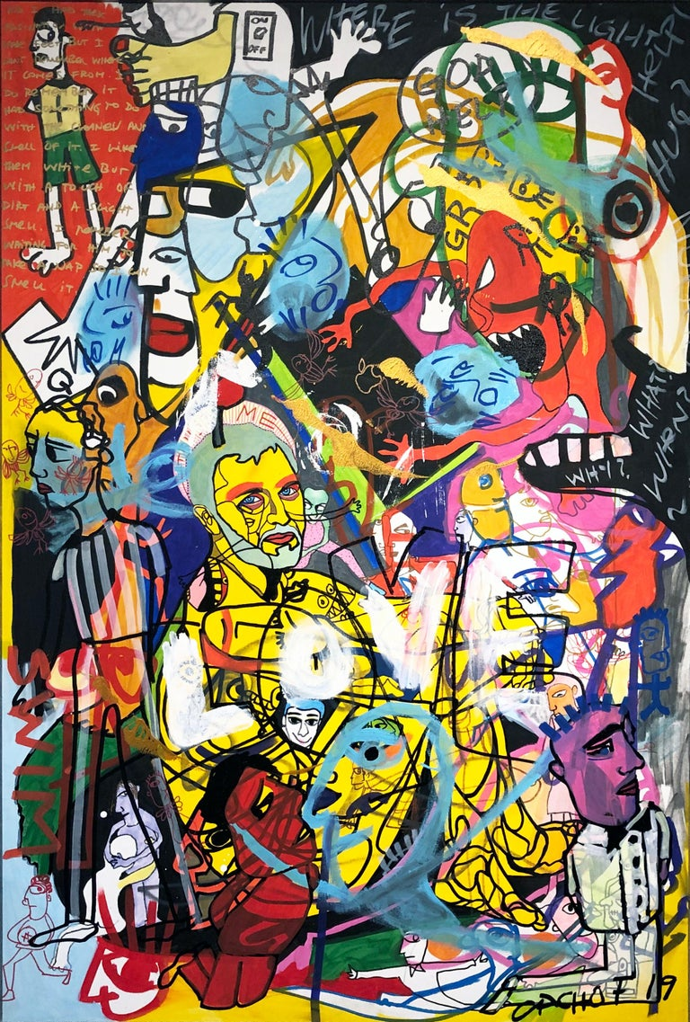 Cacho Falcon Abstract Painting - Chaos and Love