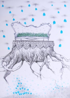 Royal Dreams - 21st Century, Drawing on Paper, Tree, Crown, Blue, Fantasy