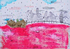 Red Sea - Contemporary, Drawing on Paper, Pink, Dreamlike, Figurative