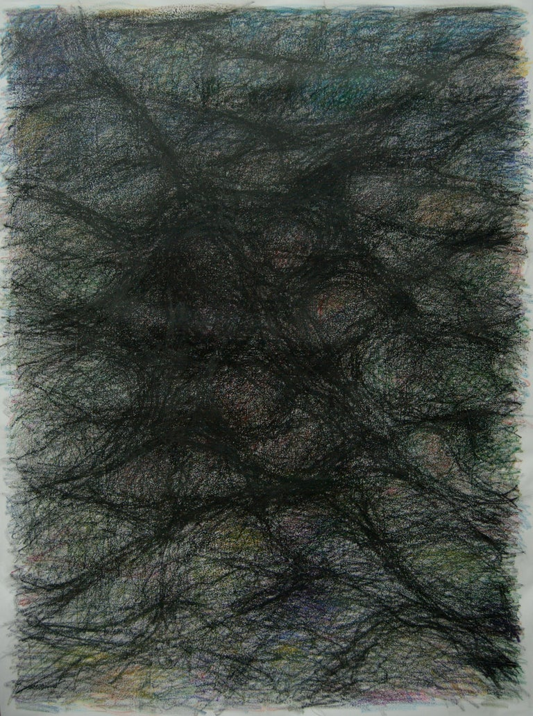 Zsolt Berszán Abstract Drawing - Untitled 01 - Abstract, Drawing on Canvas, Gray, Organic, 21st Century