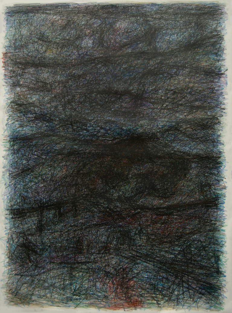 Untitled 02 - Abstract Drawing on Canvas, Gray, Blue, 21st Century, Organic - Art by Zsolt Berszán