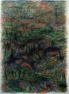 Untitled 03 - Abstract Drawing on Canvas, Green, Contemporary, Gestural