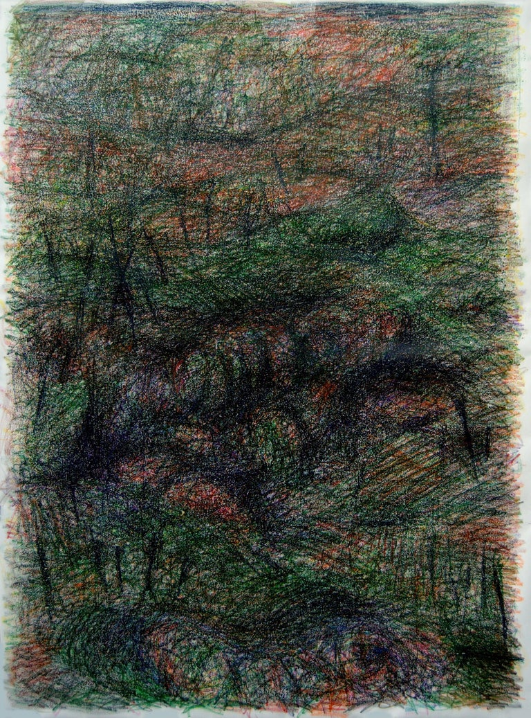 Untitled 03, 2016 Wax crayon on canvas (Signed on canvas) 78.74 H x 59.05 W in 200 H x 150 W cm  Zsolt Berszán treats the first layer of the drawing as a substrate, as a surface on which something is deposited or inscribed. In this way the multiple