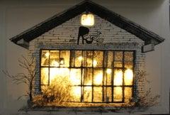 Rest - My last coffee - 21st Century, Light Box, Drawing, Gray, House, LED Light