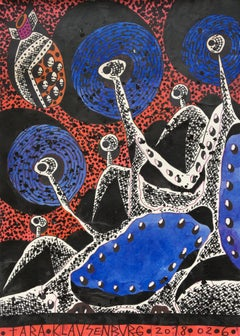 Planet Blue - Contemporary, Drawing, Figurative, Blue, Red, Black, 21st Century