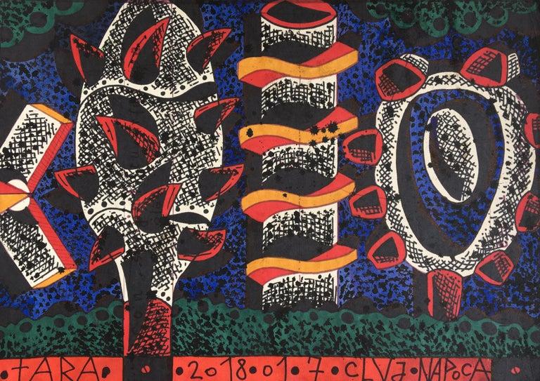 Tara von Neudorf Landscape Art - Techno-Forest - 21st Century, Trees, Figurative, Drawing, Blue, Red, Orange