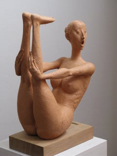 Fear - 21st Century, Figurative Sculpture, Nude, Beige, Contemporary