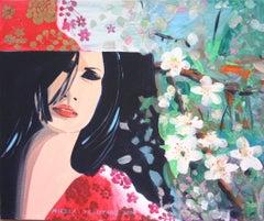 Paradise 04 - 21st Century, Flowers, Red, Human Figure, Landscape, Mood