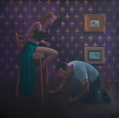 Acquiescence -  21st Century, Figurative Painting, Interior, Purple, Couple