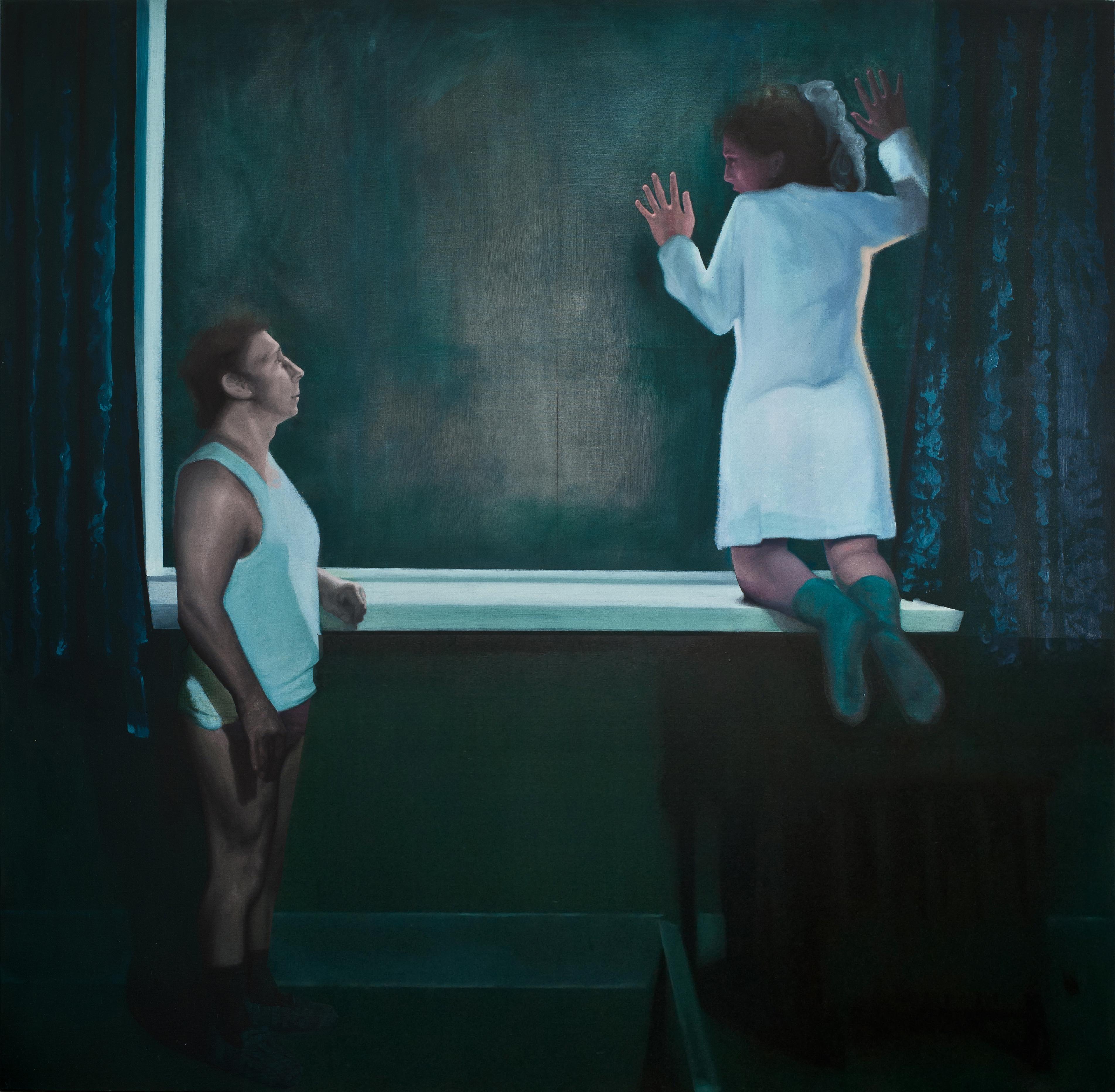 Distrust - Contemporary, Figurative Painting, Window, Blue, Human, Female, Male