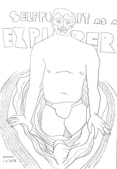 Self Portrait as an Explorer - 21st Century, Nude, Drawing, Male, Figurative Art