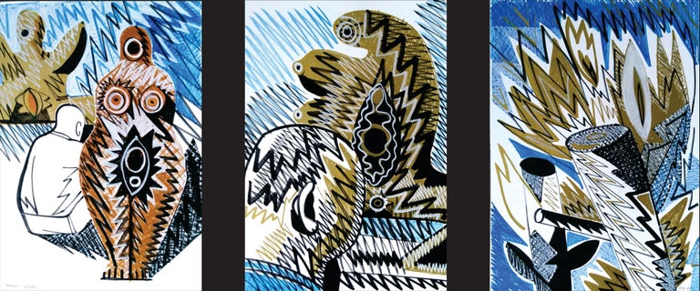 Alexandru Rădvan Figurative Art - Pygmalion (Triptych) - Nude, 21st Century, Blue, Figurative Drawing, Tree