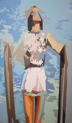 Lullaby - 21st Century, Contemporary Art, Figurative Painting, Blue, Female, Sky