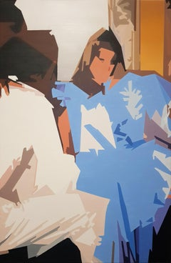 You and Me - Contemporary Painting, Blue, White, Beige, Couple, Woman, Interior