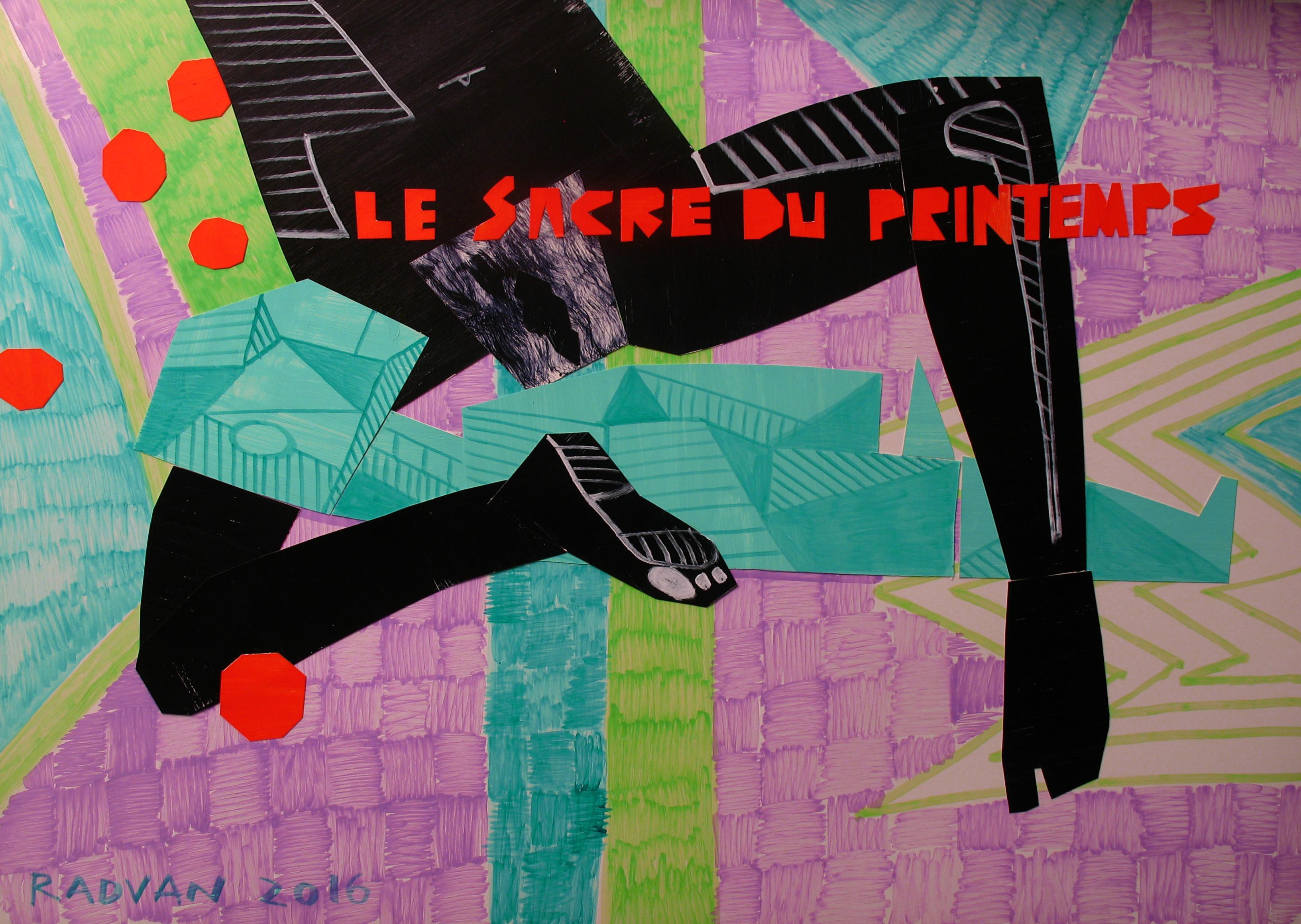 Le Sacre du Printemps - Contemporary, Couple, Nude, Green, Black, Violet, Female