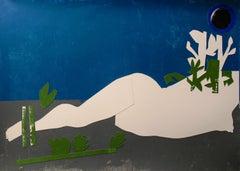 Siren - Contemporary Art, Nude, Female, Nature, White, Blue, Gray, Flowers