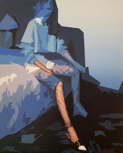 Rhapsody - 21st Century, Contemporary Painting, Blue, Women Tights, Bedside