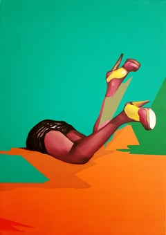 Inquisitive Interlude - Contemporary, Legs, Orange, Green, Beauty, Glamour, Lady