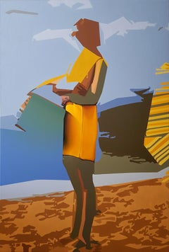 A Matter of Choice - Contemporary Art, Yellow, Blue, Sand, Sea, Female, Beauty