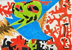 Island for Umberto 07 - Contemporary, Drawing, Red, Green, Blue, Butterffly