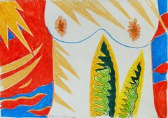 Island for Umberto 08 - 21st Century, Drawing, Nude, Red, Yellow, Blue, Summer