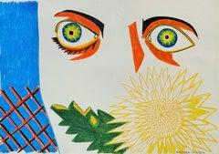 Island for Umberto 10 - 21st Century, Drawing, Sun, Sea, Yellow, Orange, Blue