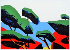 Meridional I - Contemporary, Green, Red, Blue, Summer, Landscape, 21st Century