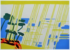 Meridional VIII - Contemporary, Drawing, Yellow, Blue, Red, Landscape, Sun