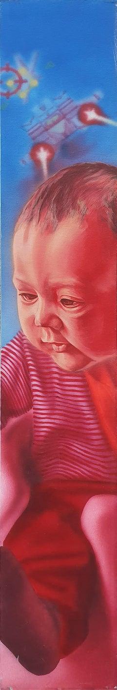 Kid - 21st Century, Kid, Red, Blue, Contemporary, Figurative