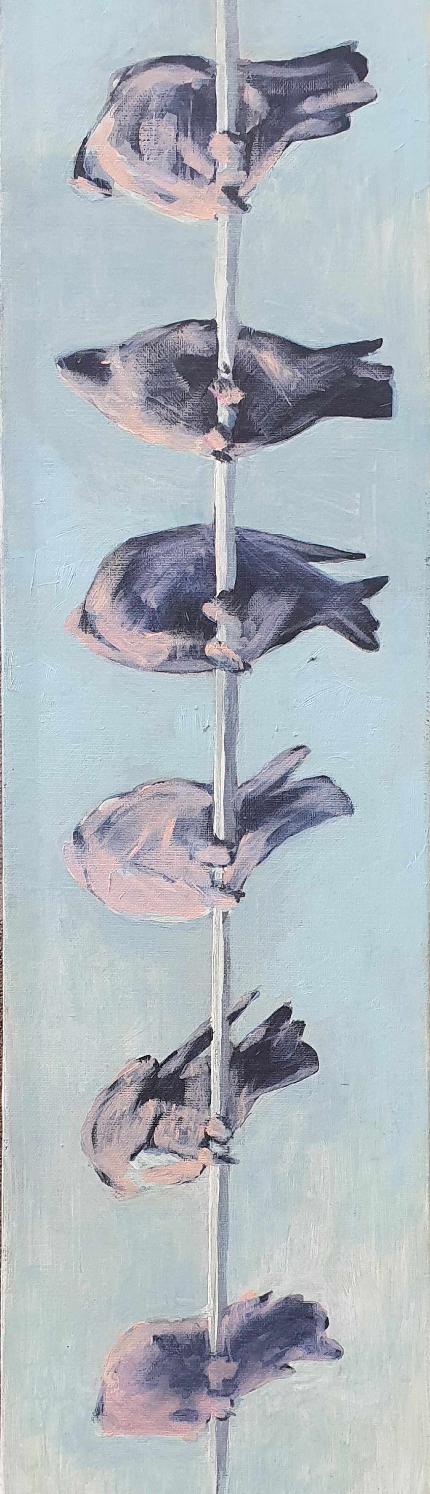 Birds - Contemporary, Blue, 21st Century, Figurative Painting