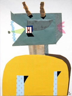 The Juggler - Contemporary, Collage, Green, Yellow, Funny, 21st Century