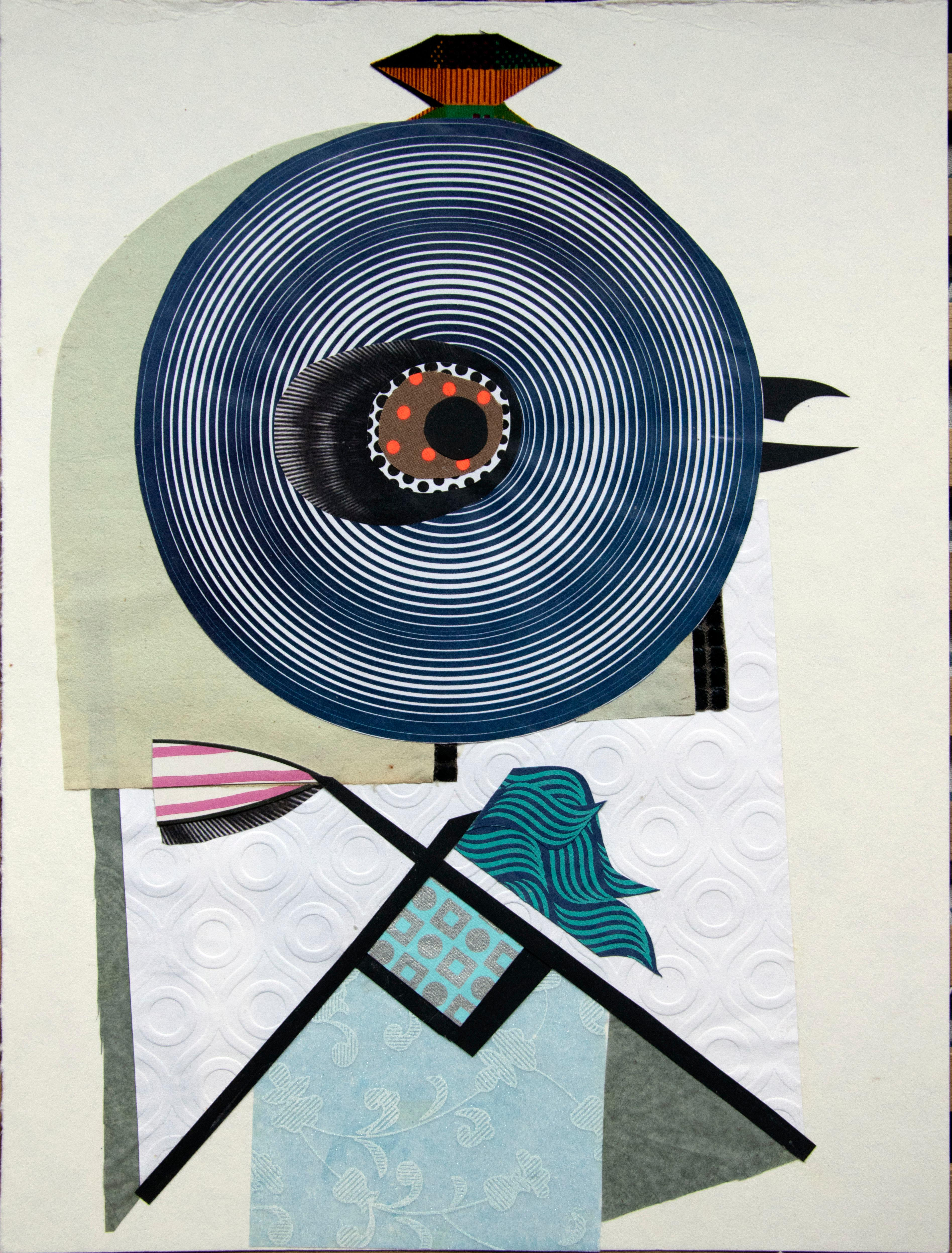 The Maid - Contemporary, Blue, Green, White, 21st Century, Collage, Funny