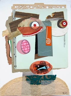 The Registrar - Contemporary Art, Collage on Paper, Funny, Green