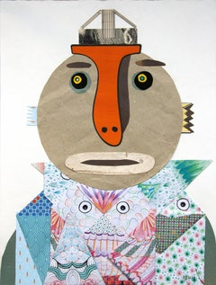 The Origami Seller - Contemporary Art, Collage, Orange, Funny, 21st Century