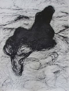 Untitled 01 - Abstract Drawing, Black, Organic, Contemporary, Graphite on Paper