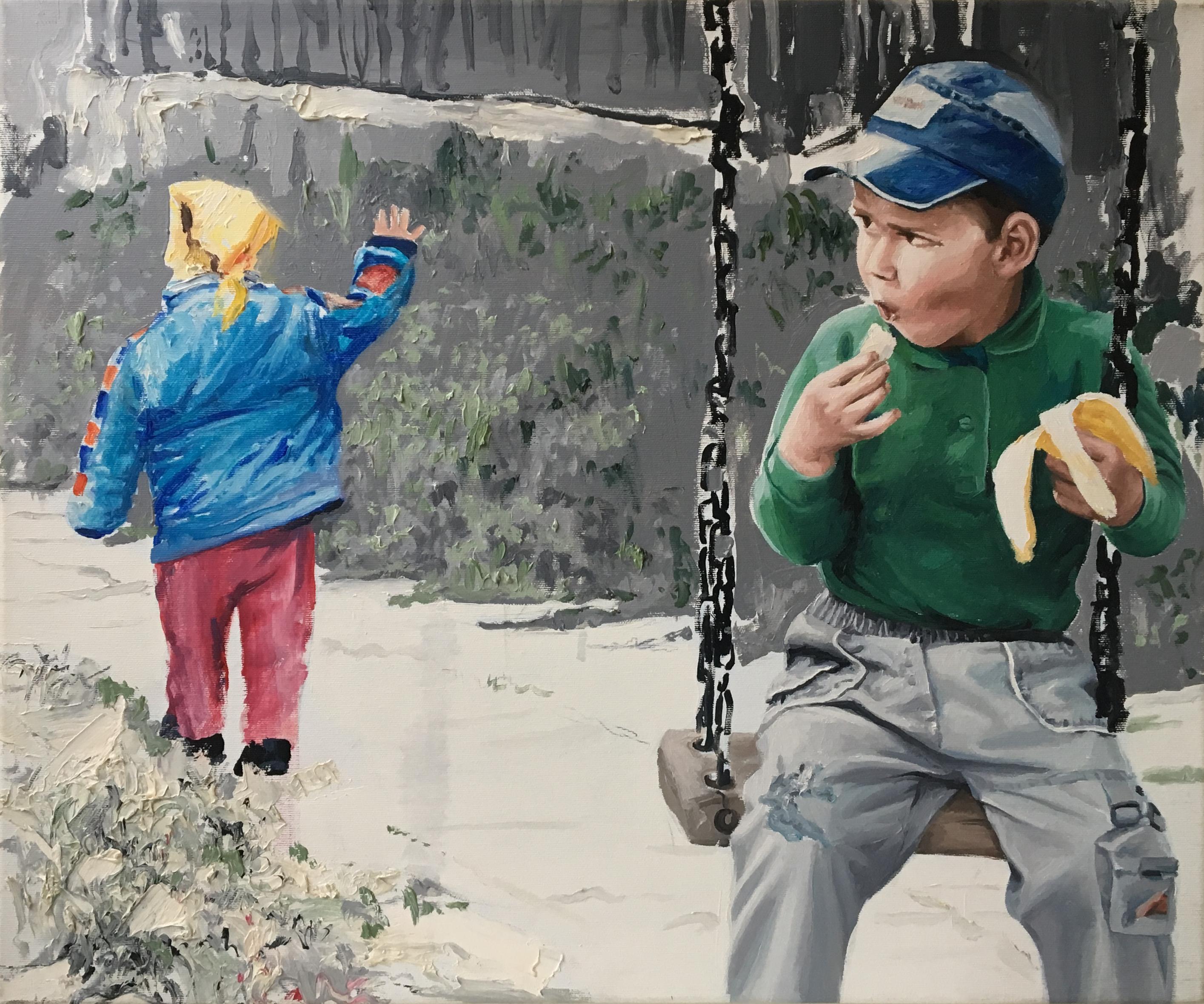 Staring - Contemporary, Figurative Art, Blue, Green, Yellow, Playground, Kids
