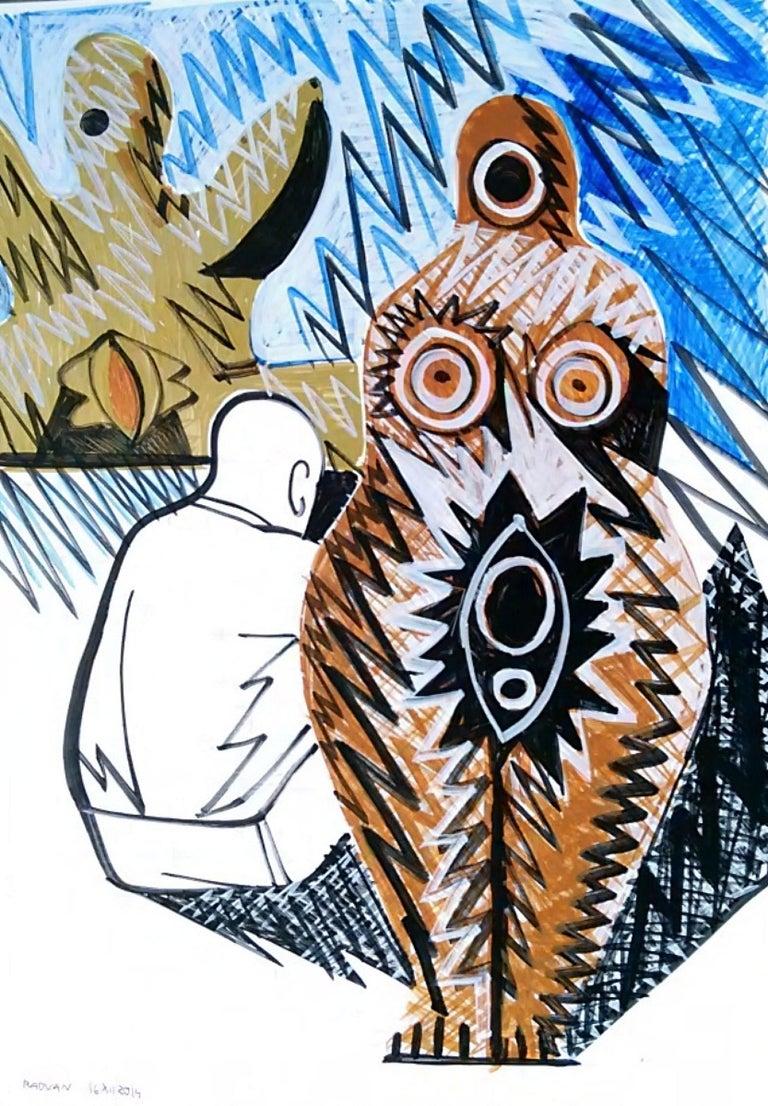 Pygmalion (Triptych) - Nude, 21st Century, Blue, Figurative Drawing, Tree - Art by Alexandru Rădvan
