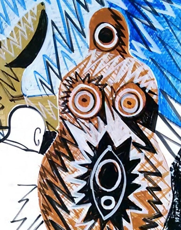 Pygmalion (Triptych) - Nude, 21st Century, Blue, Figurative Drawing, Tree - Contemporary Art by Alexandru Rădvan