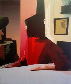 Swan Song - 21st Century, Interior, Woman, Red, Enigmatic, Figurative Painting
