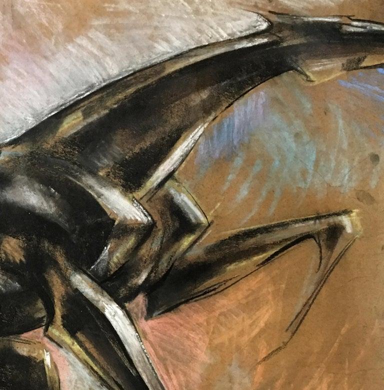 Horse II -  21st Century, Figurative Drawing, Animal, Colored Pencil, Brown - Art by Dinu Rădulescu