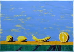 Bodegon II - Contemporary, Still Life, Fruits, Light Blue, Yellow, Banana, Lemon