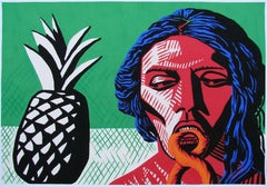 Disparate III - Contemporary, Figurative, Ananas, Green, Red, Portrait, Male