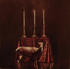 Deer and Candles - 21st Century, Figurative Paintig, Baroque, Animal
