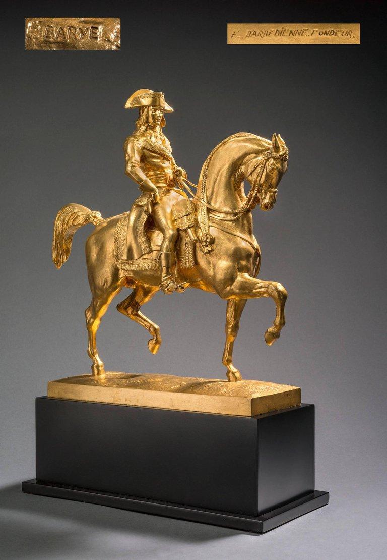 Le Général Bonaparte, Campagne d'Egypte, 1798 - Gold Figurative Sculpture by Antoine-Louis Barye