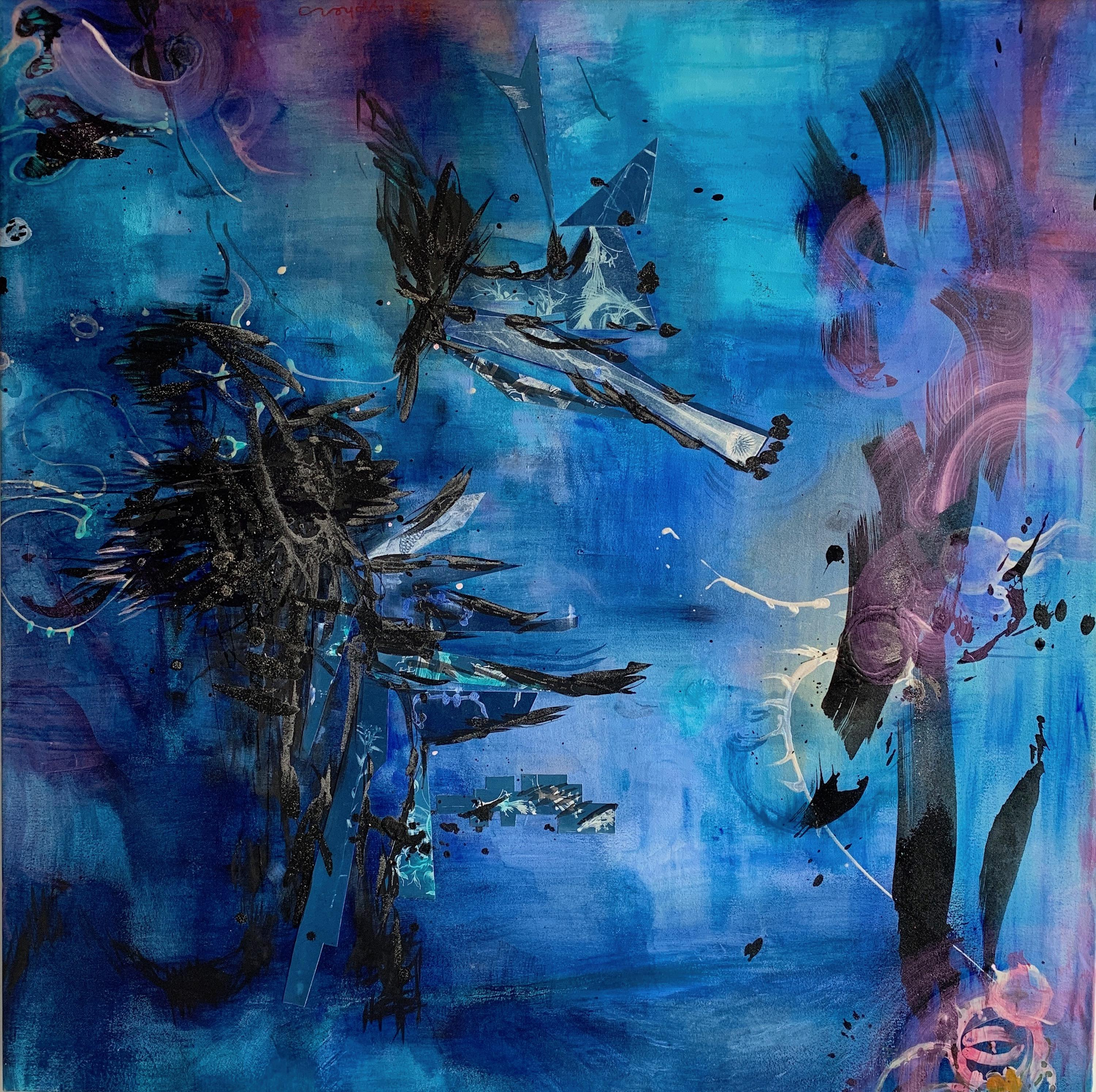 """""""Tales At Sea"""" 48""""x48"""" Mixed media and paint on canvas, abstract painting"""