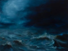 """Storm Sea"", Contemporary Seascape Oil Painting (deep blue)"