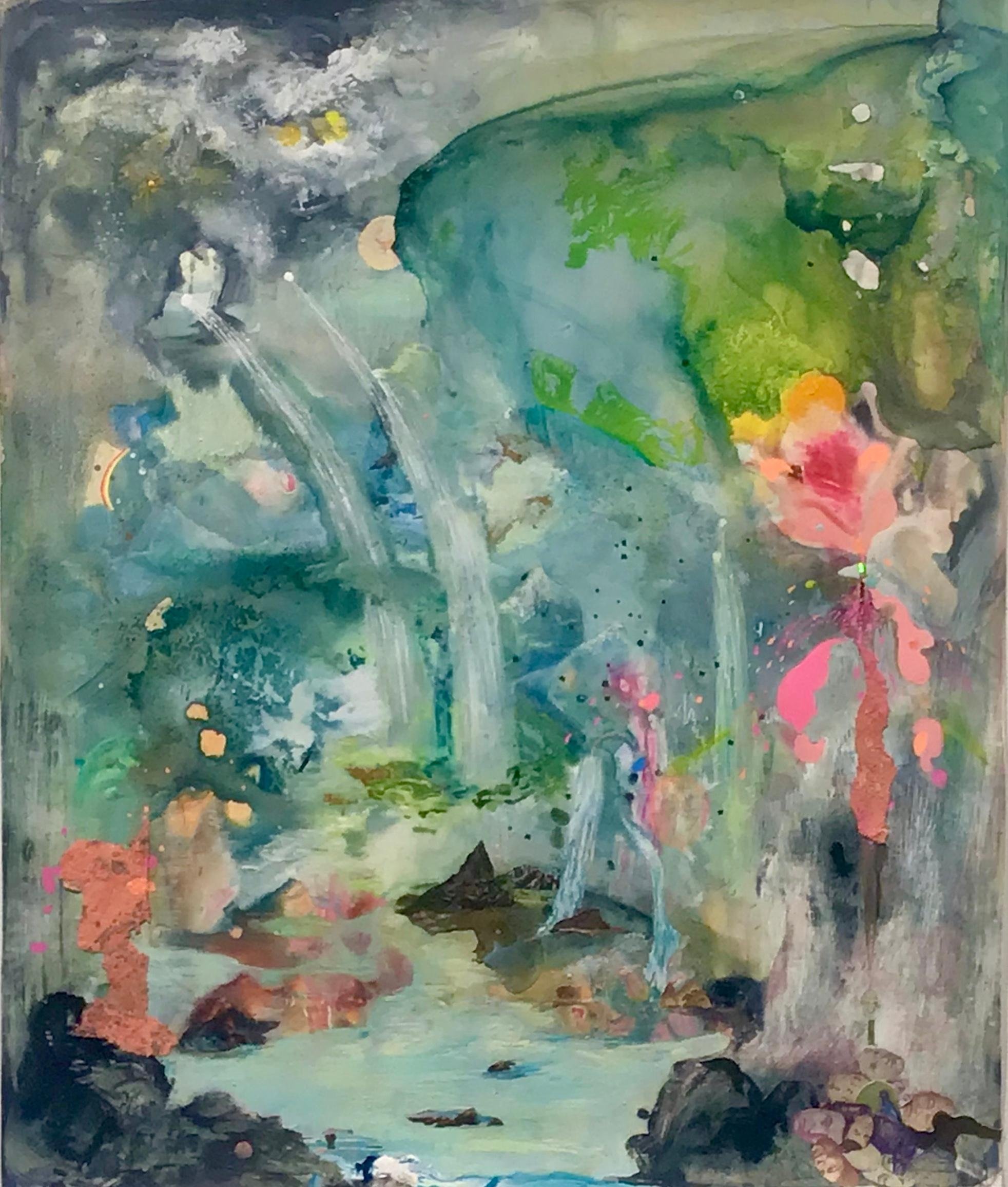 """""""Being Island"""" contemporary abstract landscape painting collage"""